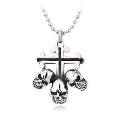 Gothic Vintage Punk Cross Skulls Titanium Pendant