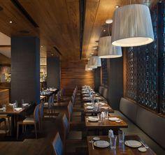 Wood Ceiling Panels, Acoustic Ceiling Panels, Wood Ceilings, Showcase Design, Plank, Beams, Architecture Design, Restaurant, Interior Design
