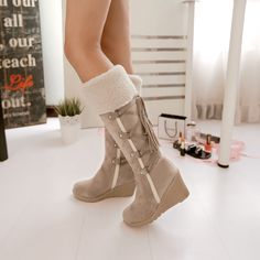 Womens Winter Shoes Fur Trim Warm Knee High Boots Wedge Heels Lace Up Faux Suede Winter Shoes For Women, Snow Boots Women, Shoes Women, Girls Shoes, Wedge Boots, Wedge Heels, Boot Wedges, Flat Boots, Heeled Boots