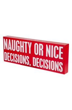 Primitives by Kathy 'Naughty or Nice' Box Sign available at #Nordstrom
