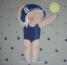 Cuadro infantil personalizado piscina para María