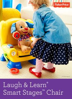 Meet the smarty-pants chair of your child's dreams! The Laugh & Learn® Smart Stages™ Chair knows when baby sits, activating songs and phrases when baby stands. Press the light-up remote or flip book pages to hear numbers, shapes and more. 12 months & up. (Laugh & Learn Chair and Puppy sold separately.)