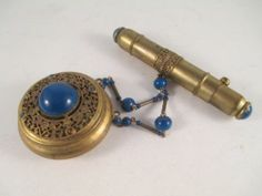 Vintage Compact Rouge Chained Lipstick Lapis Blue Cab Gilt Gold France | eBay