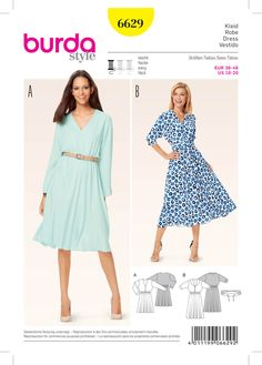 Choose a lightweight, delicate fabric to truly maximise this gorgeous bell-shaped skirt! The elastic casing at the waist also gives the skirt extra width and allows the blouse like upper dress to drape nicely. #Burda #sewing #pattern B6629