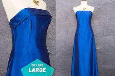 80s Retro Vintage Prom Dress Blue Iridescent Formal Gown Jessica McClintock ~ Large