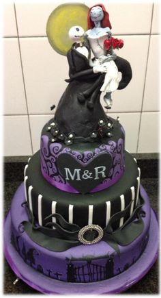 This Was A Wedding Cake For A Couple Who Wanted A Nightmare Before Christmas Theme And I Believe I Fulfilled The Brief The Topper Was Ma  on Cake Central