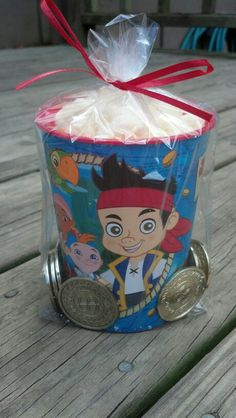 Jake and the Neverland pirates party favors.  99¢ cup from Party City, gold coins from Party City and filled with Pirate's Booty (large bag from Costco)   inexpensive cute take home favor Pirate Birthday, Pirate Theme, Third Birthday, 4th Birthday Parties, Birthday Bash, Camo Birthday, Birthday Ideas, Pirate Party Favors, Party Favours