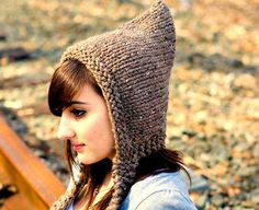 Hand Knit Hat Womens Hat  Pixie Hat in Barley  Chunky by pixiebell, $50.00