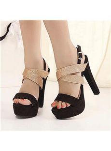 Amazing Contrast Color Chunky Heels Platform Sandals