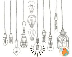 Light Bulb ClipArt PNG, String Light Digital Graphics, Royalty Free Printable Line illustration, Digital Art Doodle, Vintage Edison Bulb Light Bulb Clip Art - Silhouttes - Outlines - Digital Stamps Hand Drawn Doodles + Photoshop Brushes Illustration Ligne, Art And Illustration, Art Illustrations, Art Doodle, Doodle Drawings, Doodle Ideas, Doodle Frames, Flower Drawings, Doodle Inspiration