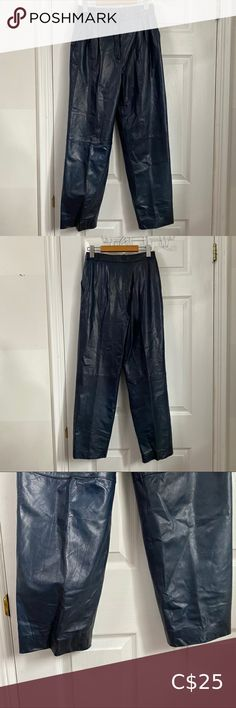 """Vintage Blue Leather High Waisted Pants Soft, buttery blue dyed leather trousers No label Size 38, approximately a XS-S Light wear and creasing to the leather, but in good condition FLAT MEASUREMENTS: Waist: 13.5"""" Rise: 12"""" Hips: 19"""" Inseam: 27.5"""" Length: 39"""" Pants & Jumpsuits Trousers Latex Pants, Suede Pants, Leather Trousers, Wool Pants, Zara Trousers, Wide Leg Trousers, Flowy Pants, Black Dress Pants, Checker Pants"""