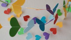 Rainbow heart paper garland 10ft  Party decor by HelenKurtidu