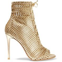 Gianvito Rossi Woven metallic leather sandals ($1,800) ❤ liked on Polyvore featuring shoes, sandals, heels, gold, gianvito rossi, boots, heeled sandals, open toe sandals, leather high heel sandals and lace-up sandals