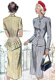 Dress Pattern McCall 7188 Womens Two Piece Peplum Dress Slim Skirt Pleated Peplum Womens Suit Vintage Sewing Pattern Bust 34 Dress Pattern McCall 7188 Womens Two Piece Peplum Dress Slim Skirt and Pointed Back Pleated Peplum Vintage Sewing Patte Moda Vintage, Vintage Mode, 1940s Fashion, Look Fashion, Vintage Fashion, Fashion Design, Fashion Sets, Petite Fashion, Ladies Fashion