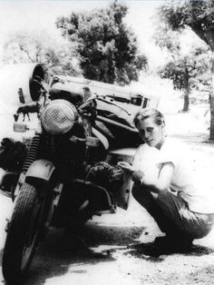 Elspeth Beard, an Englishwoman who circumnavigated the globe on her BMW motorcycle. c. 1981