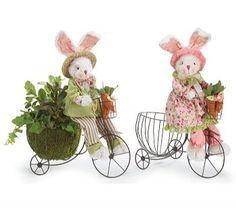 Bunnies On Bike DecorationChoose Pink or Green Bunny