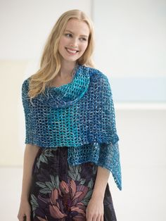 Wrap yourself in waves with our Ebb Tide Shawl! An easy crochet project made with one skein of Shawl in a Ball (shown in Healing Teal) and a size J-10 (6 mm) hook.