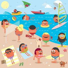 Beach Cartoon illustration of busy beach. No transparency and gradients used. AI, CDR, EPS, JPEG and PSD files. Created: GraphicsFilesIncluded: PhotoshopPSD Layered: Yes MinimumAdobeCSVersion: CS Tags: Tanning Beach Cartoon, Cartoon Fish, Free Vector Images, Vector Free, Superhero Background, Superhero City, Superhero Silhouette, Angel Vector, Christmas Tree Background