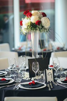 Contemporary Wedding Black White Red Table Set