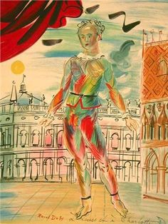RAOUL DUFY - The Italian Clown - 1952 Original Hand Signed Color Lithograph