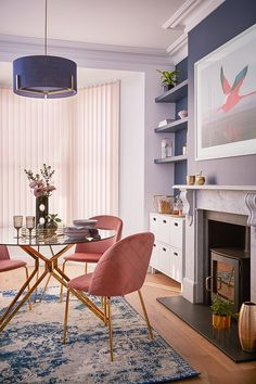 Painting your walls in a dark colour, allows your artwork, furniture and accessories to really pop. Pale pink Vertical blinds add a subtle finish Dark Colors, Vivid Colors, Colours, Pastel Interior, All The Right Reasons, Color Combinations, Master Bedroom, Dining Chairs