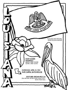 Louisiana coloring page for road trip binder