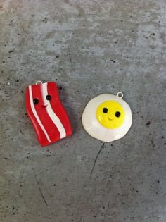 Happy Bacon and Eggs Best Friends Charm Set by TheTinyKangaroo, $7.99