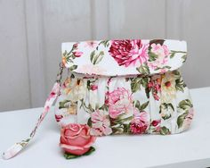 Items similar to Clutch - Spring/summer pink and white floral clutch purse, shabby chic roses wristlet on Etsy Handmade Clutch, Handmade Handbags, Handmade Purses, Handmade Art, Handmade Items, Bridesmaid Clutches, Bridesmaid Gifts, Floral Clutches, White Clutch