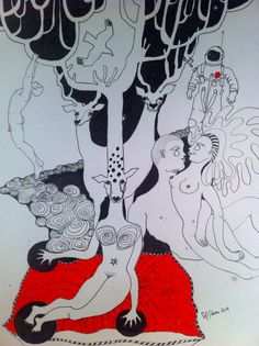 She asked him to sit down, feel and listen. Drawing,www.sofistorm.dk