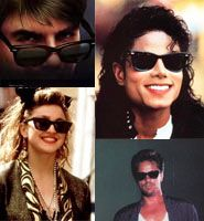 Ray-Ban Wayfarer Sunglasses Ray-Ban Wayfarers were by far the most popular sunglasses worn in the 80s.  In 1983 Tom Cruise wore them for his break out movie role in the film Risky Business. Demand for the glasses took off with hundreds of thousands being sold immediately after the release of the movie. The glasses could be seen on many of the top celebrities of the 80s, including Michael Jackson, Don Johnson, and Madonna.