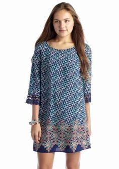 Red Camel  Printed Crochet Sleeve Shift Dress