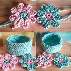 Koszyk i kwiatuszki  #basket #flowers #KotToOn #crochet #szydełko #handmade #recznarobota #rękodzieło #tshirtyarn #tyarn #zpagetti #zpagettiyarn #cottonyarn #jerseyyarn #fabricyarn #cottonspaghetti #trapillo #fiodemalha #ecofriendly #recycleyarn #timetosmile