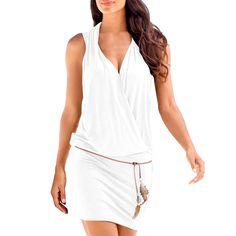 6b1416ec34b6 SUNNOW Elégante Tunique Robe Femmes Casual d été sans manches Col V Profond  Robe de Plage Mini robes T-shirt Party Robe Court Mini Robe  Amazon.fr  ...