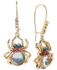 Betsey Johnson Gold-Tone Shaky Crystal Spider Long Drop Earrings - All Fashion Jewelry - Jewelry & Watches - Macy's