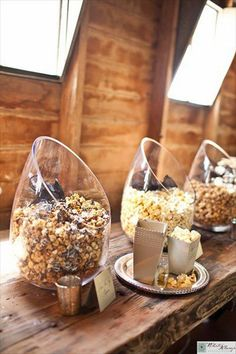 rustic country popcorn wedding favors
