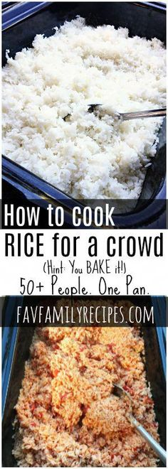 Cooking rice for a crowd is SO easy Bake it in the oven and have up to 50 servings in less than an hour Seasoning variations included via favfamilyrecipz Appetizers For A Crowd, Desserts For A Crowd, Best Appetizers, Food For A Crowd, Meals For A Crowd, Vegetarian Appetizers, Paleo Dessert, Dessert Oreo, Potluck Recipes
