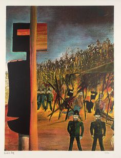 Sidney Nolan ~ Burning at Glenrowan, from Ned Kelly series, (screenprint on paper) Australian Painting, Australian Artists, Sidney Nolan, Victoria Art, Ned Kelly, Modernist Movement, Printmaking, Printing On Fabric, Contemporary Art