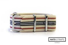 Beige with Red, Navy and White stripes - 18mm