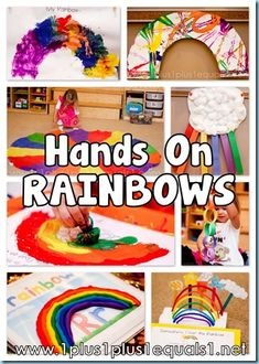 Rainbow Crafts/Activities - 1000 books before kindergarten? Rainbow Activities, Spring Activities, Activities For Kids, Color Activities, Rainbow Theme, Rainbow Art, Preschool Colors, Preschool Crafts, Preschool Ideas