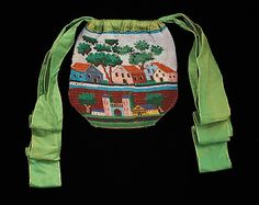 Bag (Pouch)  Date: 1820–40 Culture: American Medium: glass, linen, silk