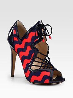 Nicholas Kirkwood Wave Mixed Media Lace-Up Sandal ❀