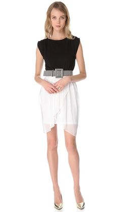 alice + olivia Autumn Tulip Skirt Dress - love this black+white combo and the belt!