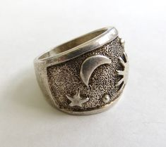 Vintage Ring Sterling Brutalist Witchy Gothic Bone Abstract Fluid Art Jewelry