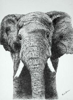 Original Elephant Pointillism Pen and Ink Drawing Dotted Drawings, Ink Pen Drawings, Animal Drawings, Stylo Art, Stippling Drawing, Custom Dog Portraits, Pen Art, Fauna, Dot Painting