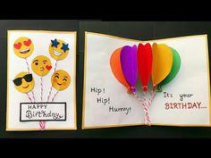 Handmade Birthday card/Birthday Balloon Pop Up Card/Birthday Greeting Card Ideas/Cute Birthday Card - handmade ideas Birthday Card Pop Up, Birthday Card Drawing, Birthday Card Design, Birthday Cards For Friends, Handmade Birthday Cards, Birthday Greetings, Birthday Greeting Cards Handmade, Birthday Wishes, Birthday Kids