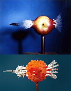 Fotografía famosa de Bala Pasando a través de una Manzana tomada por Harold Eugene Edgerton en 1969.   Realizada con LEGO por Tom Simon.