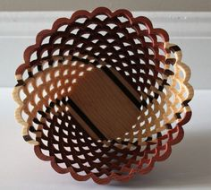 Scroll saw basket made of walnut,pine and cedar