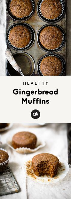 Healthy gingerbread muffins that are incredibly fluffy, warm and perfect with a cup of coffee. One of my favorite muffins to enjoy during the Winter. 134 calories per muffin! #gingerbread #muffins #healthybaking #breakfast #healthysnack Healthy Muffin Recipes, Healthy Deserts, Healthy Muffins, Healthy Baking, Snack Recipes, Breakfast Recipes, Breakfast Ideas, Cookie Recipes, Healthy Sweets
