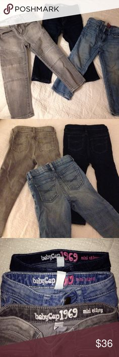 3 Skinny mini jeans by Gap 3 great colors to complete your little ones wardrobe. All size 2 toddler and all by Gap, skinny mini! Just too cute and will go with all your adorable tops. GAP Bottoms Jeans