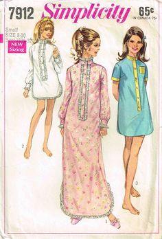 Simplicity 7912 Sewing Pattern Baby doll Night Gown by PeoplePackages